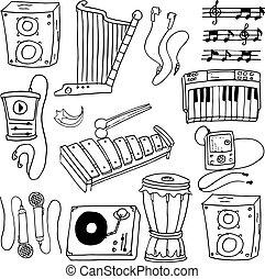 doodle, tema, objeto, música