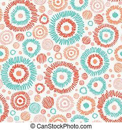 doodle, textured, círculos, seamless, padrão, fundo