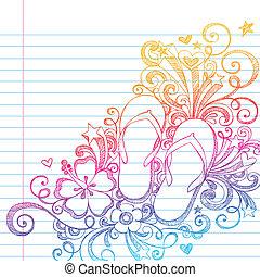 doodle, tik, sketchy, vec, afgangen, strand
