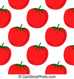 Doodle tomato pattern for fabric design. Red tomatoes background. Organic healthy vegetable. wallpaper.