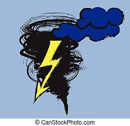 doodle tornado symbol, vector
