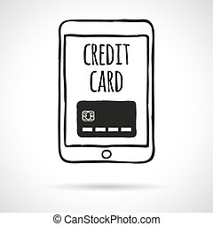 Doodle touch pad with credit card. Shopping and paying...