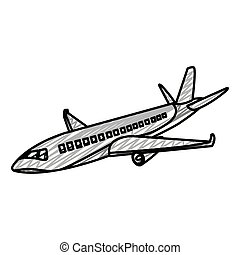 doodle travel airplane fight international transport
