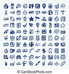 doodle travel icons
