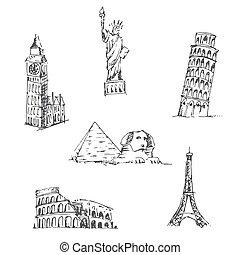 Doodle Travel set. World famous landmarks