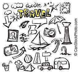 doodle travel, vector illustration