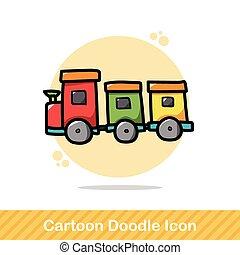 doodle, trein, speelbal