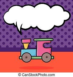 doodle, trem, brinquedo