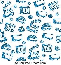 doodle, trem, seamless, padrão