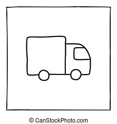 Doodle truck icon, hand drawn with thin line