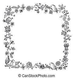 doodle, ułożyć, elementy, kwiaty, ptaszki