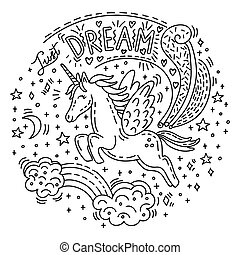 Doodle unicorn dream - Dreaming cute flying unicorn in ...