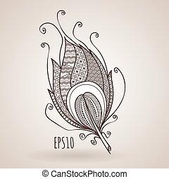 doodle., utsirad, feather., vektor, zentangle, invecklad