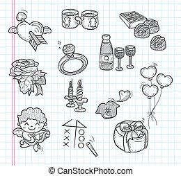 doodle, valentine dzień, ikony