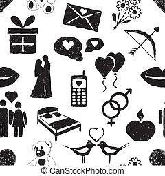 doodle valentine seamless pattern