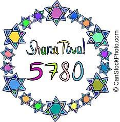 doodle., vecteur, tova, rond, multi-coloré, inscription, hashanah., isolé, vous, illustration, souhait, 5780, shana, main, cadre, hébreu, david., arrière-plan., traduction, happiness., draw., étoiles, rosh