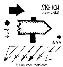 Doodle vector arrows vector set. Sketch elements