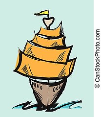 doodle vector colorful cartoon sail