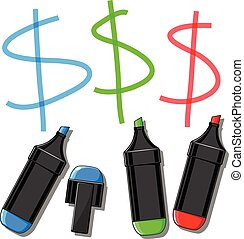 doodle, vector, dollar, illustratie