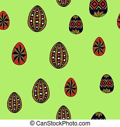 doodle vector easter eggs chaotic seamless pattern