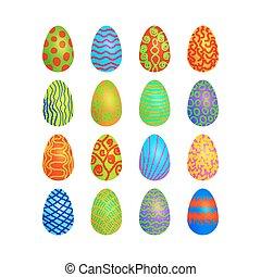 doodle vector easter eggs set