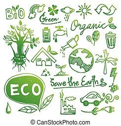 doodle, vector, ecologie