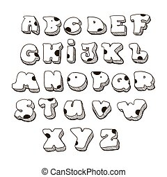 Doodle vector font family. Comic Alphabet Fat rounded capital letters