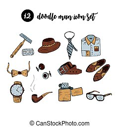 Doodle vector icon set with man accessories and symbols.