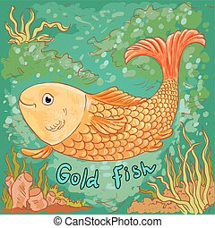 Doodle vector illustration of gold fish, sea background