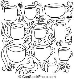 Doodle vector illustration set of cups, cute elements curls and hearts for creativity and design