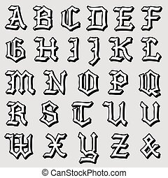 Doodle vector of a complete Gothic alphabet - Doodle vector...