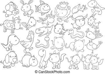 doodle, vector, set, dier