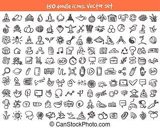 doodle, vector, set, iconen