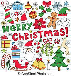 doodle, vector, set, kerstmis