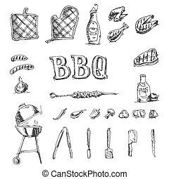Doodle Vector set of barbecue and grill elements