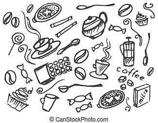 Doodle vector set of coffee