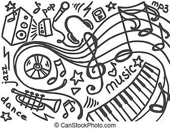 Doodle vector set of music
