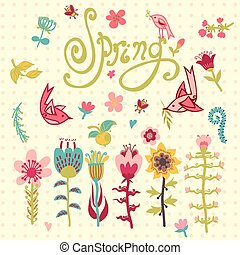 Doodle vector set of spring flowers with lettering