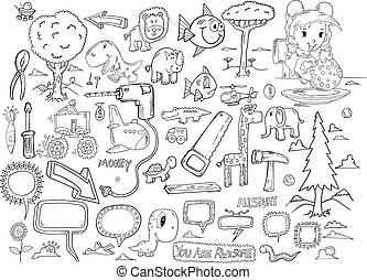 doodle, vector, set