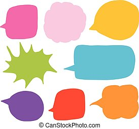Doodle vector set with colorful speech bubble shapes in hand drawn cartoon style