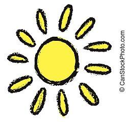 doodle, vector, zon, illustratie
