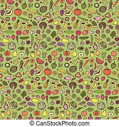 Doodle vegetarian seamless pattern