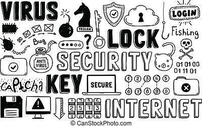doodle, veiligheid, vector, set, internet