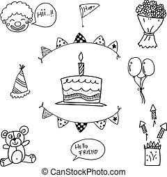 doodle, verjaardagsfeest, geitjes
