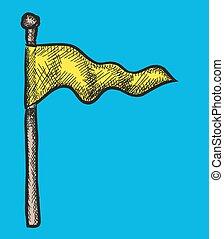 doodle, vetorial, bandeira, ilustração