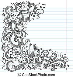 doodle, vetorial, borda, página, música