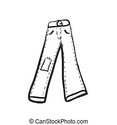 doodle, vetorial, ilustração, calças brim