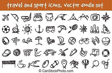 doodle, vetorial, jogo, ícones