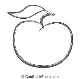 doodle, vetorial, maçã, vermelho