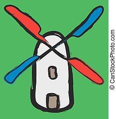 doodle, vetorial, moinho de vento, illustratio